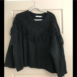 Mustard Seed Sweater w/Fringe Wear w Boots likeNEW